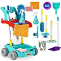 KLT Kids Cleaning Set for Toddlers, 11 Pcs Pretend Play Detachable Housekeeping Cart, Cleaning Supplies Toy for Boy and Girl with Kids Broom and Dustpan Set Cleaning Tools (Green) from KLT