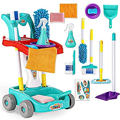 KLT Kids Cleaning Set for Toddlers, 11 Pcs Pretend Play Detachable Housekeeping Cart, Cleaning Supplies Toy for Boy and Girl with Kids Broom and Dustpan Set Cleaning Tools (Green) by KLT