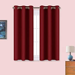 NICETOWN Burgundy Window Curtains Blackout Drapes, Thermal Insulated Solid Grommet Blackout Curtains/Draperies for Laundry Room (One Pair, 34 by 45-inch, Burgundy Red)