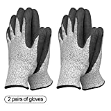 Garden Gloves Two packs for Women and Men Super Grippy with Special Protective Coating Against Cuts and Dirt Premium Breathable Waterproof Work Glove for Gardening, Fishing, Clamming, 2 Pairs(Large)