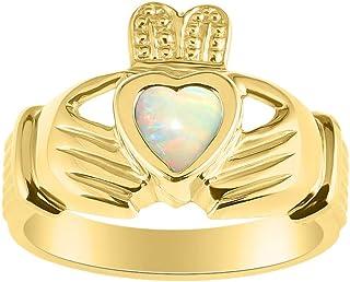 RYLOS 14K Yellow Gold Claddah Love, Loyalty & Friendship Ring with Heart Gemstone - 6MM Color Stone - His/Hers Irish Weddi...