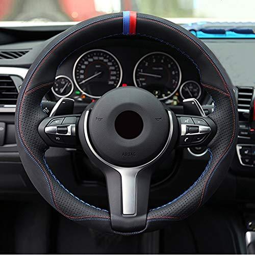 LINBUDAO Lenkradabdeckung ausschwarzem Leder, für BMW M Sport F30 F31 F34 X1 F07 X2 F10 F11 F25 F32 F33 F36 X3 F39 F48