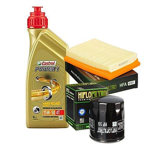 Kit Tagliando Moto Guzzi GRISO 8502006–20114x l Castrol Power 115W501x Filtro de aceite HiFlo hf551–1x Filtro aire HiFlo hfa6101
