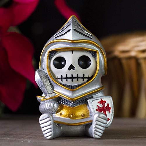Ebros Gift Figura de monstruo esqueleto de caballero de armadura peludo, de 5,7 cm de alto, coleccionable, esqueletos, esqueletos, disfraz de Halloween