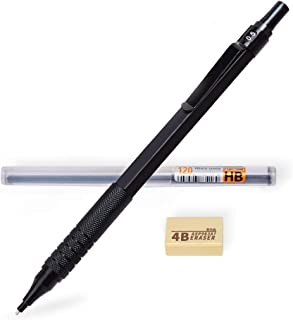 Mechanical Pencil, Metal Automatic Mechanical Pencil with Eraser and 0.5mm HB Lead Refills, Perfect Self Sharpening Drawing Drafting Writing Mechanical Pencil-Black