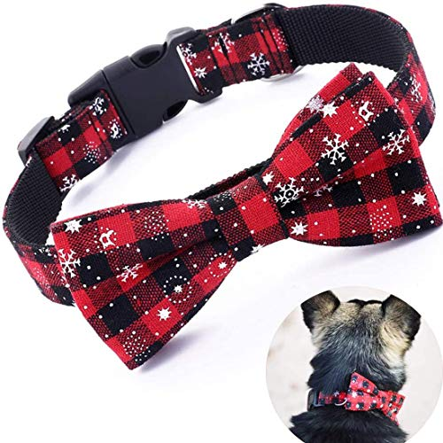 LATFZ Christmas Dog Collar Adjustable Snowflake Pattern Red Black with Bow Tie in 4 Sizes (Medium, Style 1)