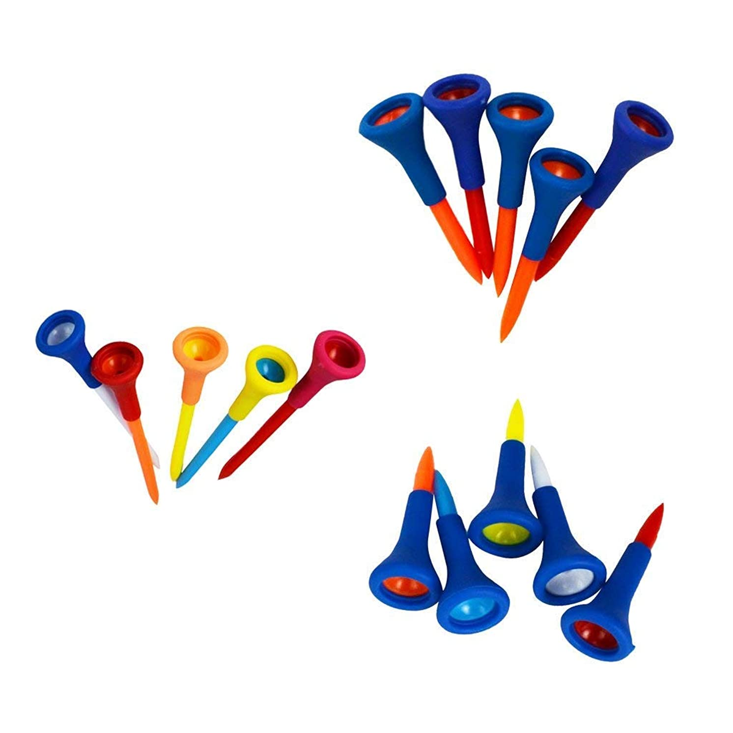 10Pcs Golf Tees Rubber Cushion 1.7 inches Golf Accessory Tool For Golf Sports Sent in Random Color