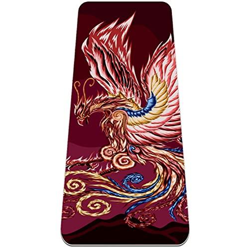 Esterilla gruesa para yoga, 6 mm, esterilla para ejercicios y ejercicios, (72 'L x 24' W x 1/4 pulgada), Phoenix Bird Color Art