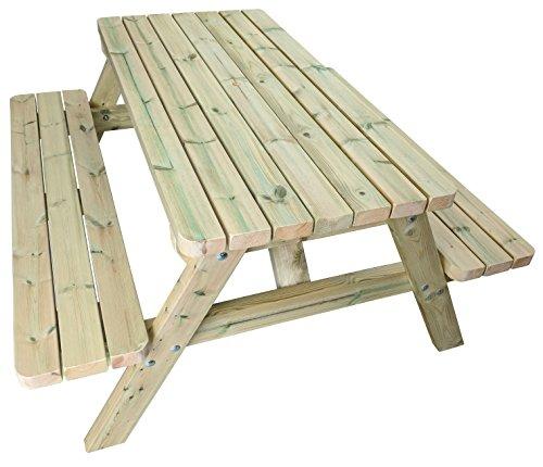 Heavy Duty 5ft de madera mesa de picnic fabricado con Chunky muebles grado sueco Redwood. Tratada A Presión a resistir el tiempo para 15años. Esquinas redondeadas