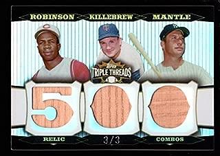 MICKEY MANTLE HARMON KILLEBREW FRANK ROBINSON/3 500 BAT PATCH SP TRIPLE THREADS