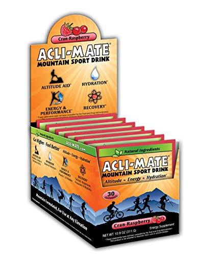 Acli-Mate Mountain Sport Drink - Altitude Sickness Hydration Aid - Cran Raspberry Carton