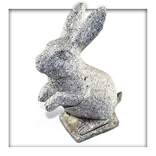 Kieskönig Hase aus grauem Granit Gartendeko Skulptur Figur Garten Deko Katze Naturstein