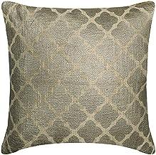 "Decorative Silver 24""x24"" (60x60 cm) Euro Pillowcases, Burlap Trellis & Lattice & Geometric Euro Pillow Covers, Moroccan P..."