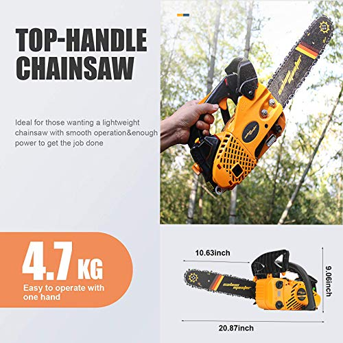 SALEM MASTER Gas Chainsaw 25.4CC 2-Cycle Arborist chainsaw Top Handle, 12-Inch Professional Chainsaw, Lightweight One-hand Chainsaw, Handheld Petrol Chain Saws for Trees Gas Powered