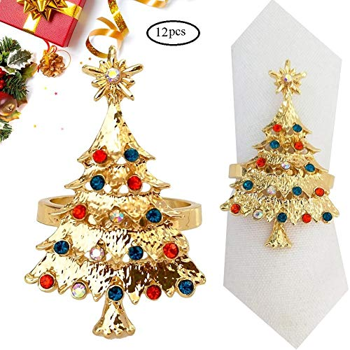 HSCC666 Christmas Tree Napkin Rings - Set of 12 Napkin Holder Rings for Holiday Christmas Thanksgiving Home Table Decoration