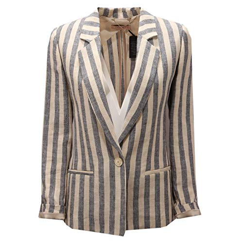 7412AE Giacca Donna Twin-Set Beige/Black Linen Jacket Woman [40]