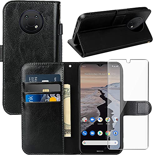 Nokia G10 Case, Nokia G20 Case, Nokia G20 / G10 Wallet Case, with Screen Protector,PU Leather Wrist Strap Card Slots Soft TPU Shockproof Protective Flip Cover Phone Case for Nokia 6.3,Black