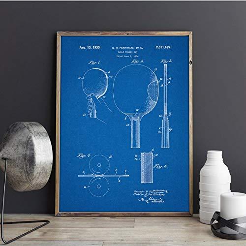 MXIBUN Poster Und Drucke Tischtennis Paddle Blueprint Ping Pong Sport Wandkunst Bilder Leinwand Malerei Geschenk Ohne Rahmen 50 * 70 cm
