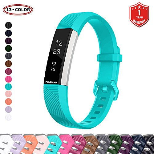 FunBand Compatible per Cinturino Fitbit Alta HR & Fitbit Alta, Regolabile Cinturino Edizione Speciale Morbido Sportivo in Silicone per Fitbit Alta HR/Alta Battito Cardiaco Smart Watch (Teal)
