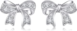 Stud Bow Shaped Earrings Cubic Zirconia Round Cut Jewelry Earrings for Women Girls Fashion Rhodium/Gold/Rose Gold Plating