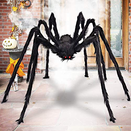 Aiduy Outdoor Halloween Decorations Scary Giant Spider Fake Large Spider Hairy Spider Props for Halloween Yard Decorations Party Decor, Black, 79 Inch