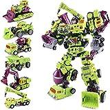 QYF Transformer Devastator Toy Action Figure del Robot, Eroe di Salvataggio di Combattimento Ingegneria del Veicolo del Robot, raschietti Spazzatrici Apripista Rimorchi Ganci Mixer (Colore : 6 in 1)