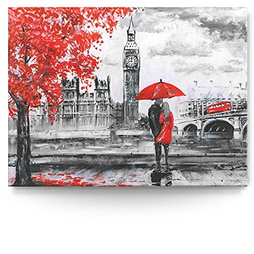 BilderKing Intensiv & Impostant 200x150cm großes Leinwand-Bild. London, wie gemalt als Wandbild auf 4cm tiefen Keilrahmen. Eindrucksvoller können Sie Ihren Raum Nicht in Szene setzen