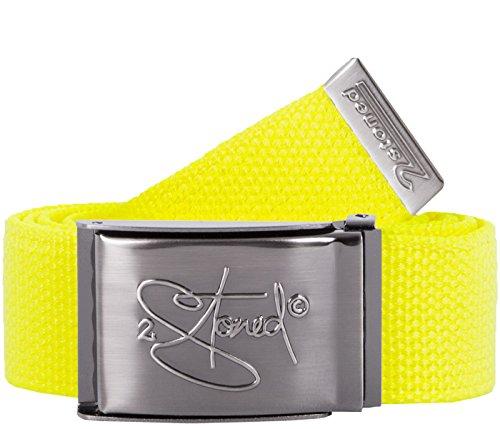 2Stoned Tresor-Gürtel Geldgürtel Neon-Gelb 4 cm breit, matte Schnalle Geprägt, Gürtel für Damen