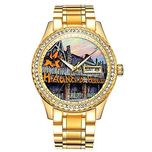 ダイヤモンドゴールドメッキウォッチルミナスラグジュアリー防水ユニークなゴールド腕時計 283. ポールマクギーお化け屋敷の腕時計