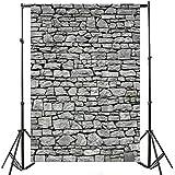 Yeele 6x8ft Gray Brick Wall Backdrop Vintage Grunge Photography Background Nostalgia Irregular Stone Texture Ancient Grey Uneven Cracked Rock Boy Kid Adult Artistic Portrait Photo Shoot Studio Props