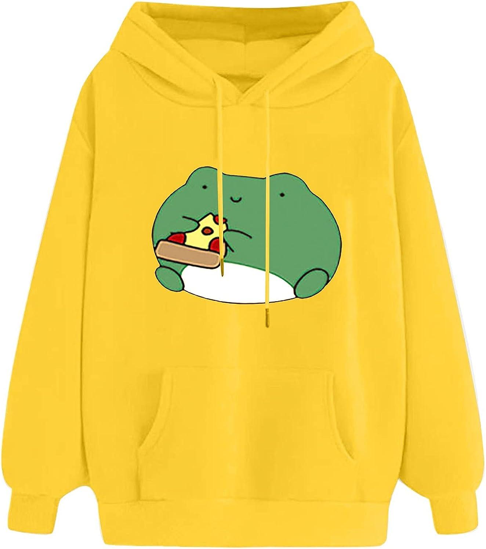 Women's Cartoon Animal Sweatshirt Long Sleeve Hooded Tops Cute Hoodies Teens Girls Casual Drop Shoulder Hoodie Pullover