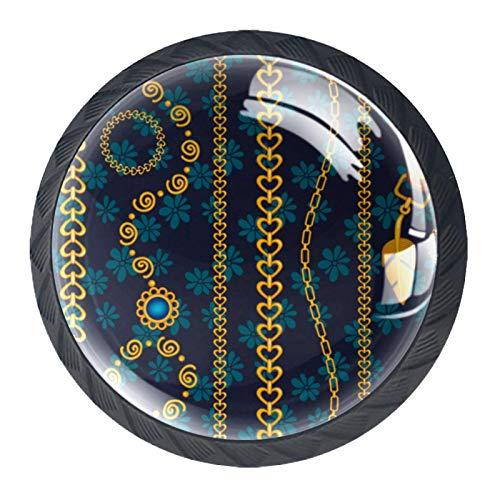 4 pomos redondos de cristal para cajones de 30 mm con asas de oro