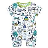L'été Toddler Enfants Garçons Bébé Mignon De Bande Dessinée Romper Jumpsuit Outfit Vêtements Onesies Impression de Girafe de Dessin animé Combinaison(3-6 Mois,Vert)