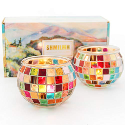 SHMILMH Mosaic Round Glass Candle Holder Set of 2 Handmade Tealight Holders Bulk Table Centerpiece for Home Bar Restaurant Decor Wedding