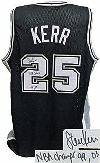 Steve Kerr Signed Jersey - Black Custom Stitched Champs 99 03 XL - Autographed NBA Jerseys
