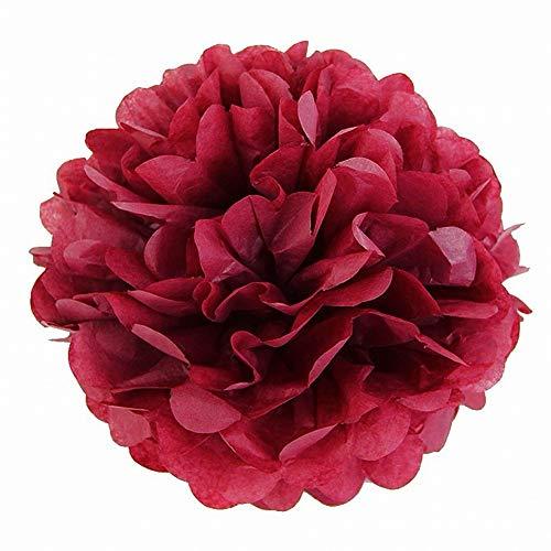 JZK 10 x Pompoms Pompons, 25cm Durchmesser, Seidenpapier Blume Dekoration für Wohnzimmer Hochzeit Geburtstag Babyparty Kinder Party Weihnachten Silvester, Dunkelrot