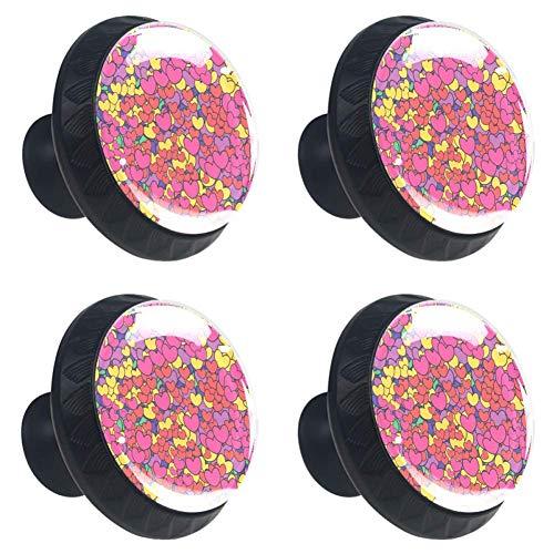 Abstracte stijl hart achtergrond [4 PCS] kristal helder glas kabinet lade trekkers, kast knoppen met schroeven voor keuken, dressoir, kast, badkamer, kast