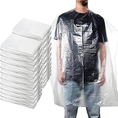 100 Pieces Disposable Salon Cape Waterproof Hair Dye Cutting Coloring Apron Shawl Transparent Barber Shampoo Cape Hairdressing Cape Barber Tools