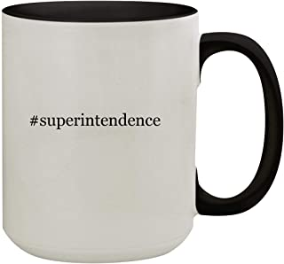 #superintendence - 15oz Hashtag Colored Inner & Handle Ceramic Coffee Mug, Black