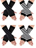 4 Pairs Cashmere Feel Wrist Fingerless Gloves with Thumb Hole Unisex Cashmere Warm Gloves (Color Set 2)