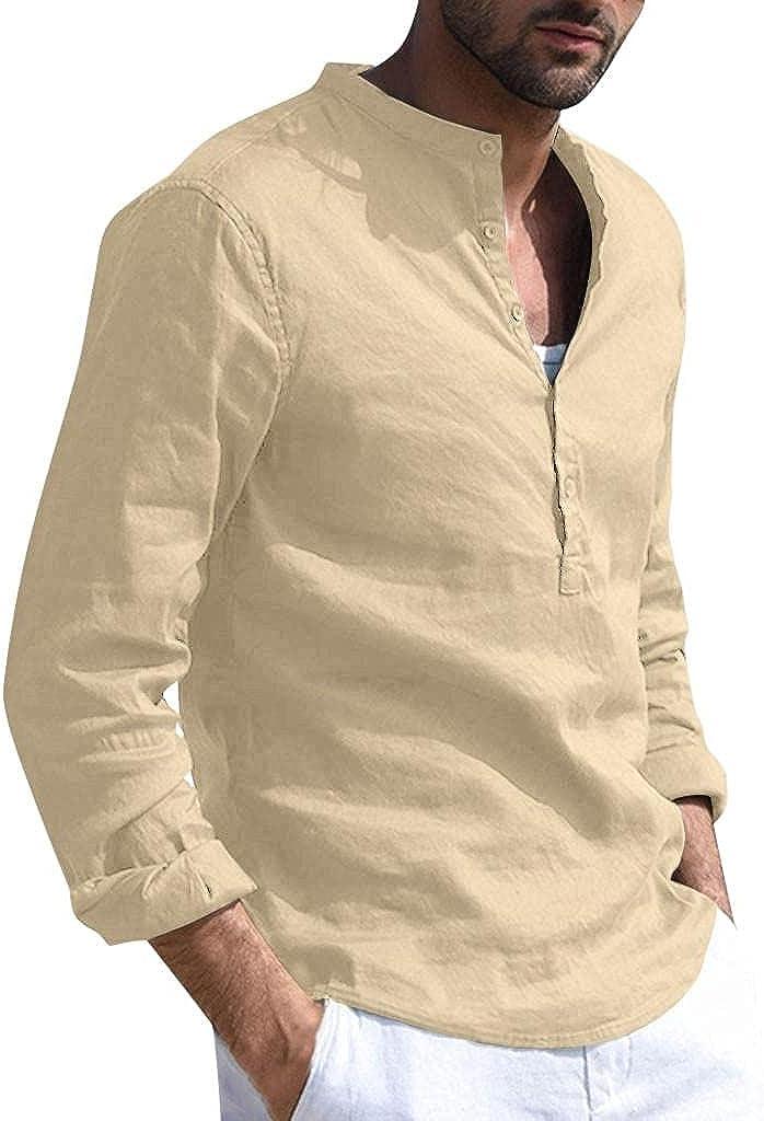 WUAI-Men Linen Henley Shirts V-Neck Long Sleeve Casual Cotton T-Shirts Baggy Loose Hippie Beach Yoga Tops