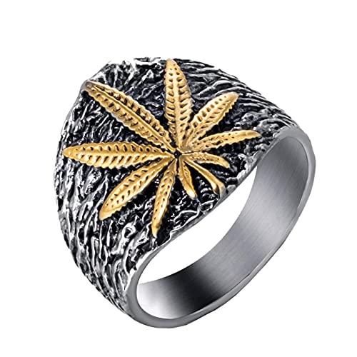 Anillo de acero inoxidable para hombre, símbolo de hoja de cannabis, marihuana, hierba, oro, plata, joyería de moda 8