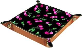 BestIdeas Panier de rangement carré 16 × 16 cm, avec motif cerises roses, boîte de rangement sur table pour la maison, le ...