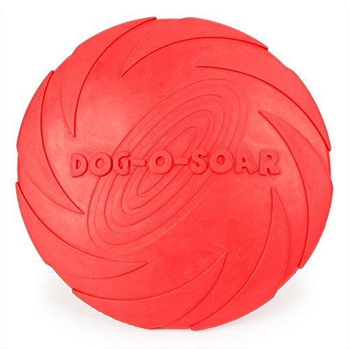 Payxuan Frisbee per Cane di Gomma,Rosso Ø 18cm
