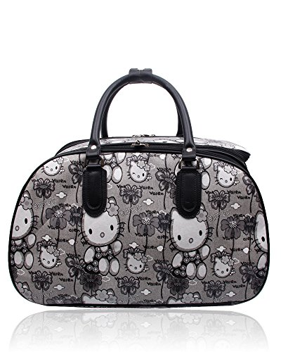 Foxlady Unisex Carry-on Hello Kitty Cartoon Print Large Luggage Travel Grey Bag Suitcase