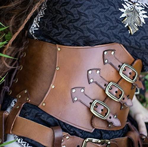 Mooke Cinturón De Armadura Pesada Medieval Steampunk Cinturón De Vestir Cinturón De Caballero Cuero De PU Cinturilla Decorativa Ajustable Accesorios De Drama