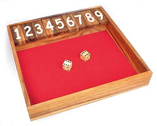 Logica Spiele Art. Shut The Box - Holz Brettspiele - Würfelspiel - Brettspiele aus Edlem Holz - 24 x 24 cm