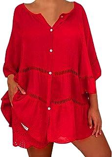 Vectry Camisa Mujer Tallas Grandes para Mujer Algodón Liso Y Lino Hollow out Jersey con Cuello En V Top Camisa Camisa Otoñ...