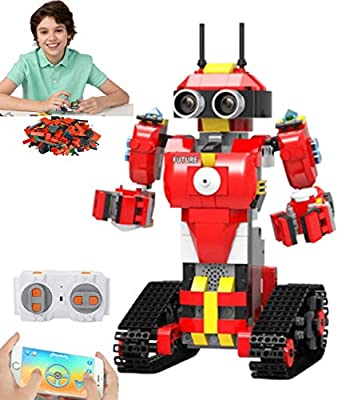 Elite Breed Stem Toys Building Blocks Kids Robot | Red Coding Robot with Remote Control | Stem Robot Educational Games for Kids 5 and up | Phone Controlled AI Robot Building Kits (446 Mini Blocks)