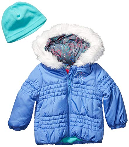 LONDON FOG Girls' Toddler Quilted Puffer Jacket with Fleece Hat, Lavender Blue, 2T